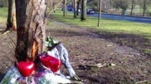 Floral tributes at the scene of Saturday's crash.