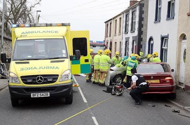 The scene at this afternoon's crash on Creggan Hill. Photos: Lorcan Doherty Photography