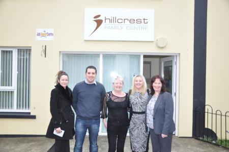 Junior Minister Jennifer McCann (centre), Sinn Féin Councillor Bridget Meehan Christopher Jackson committee member Top of the Hill 2010, Geraldine O'Donnell, Hillcrest and Karen Mullan, manager Hillcrest House.