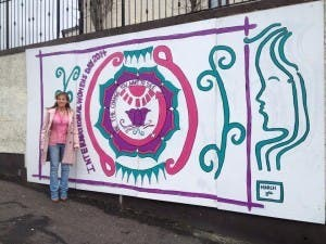 Sinn MEP Martina Anderson at the International Women's Day mural.