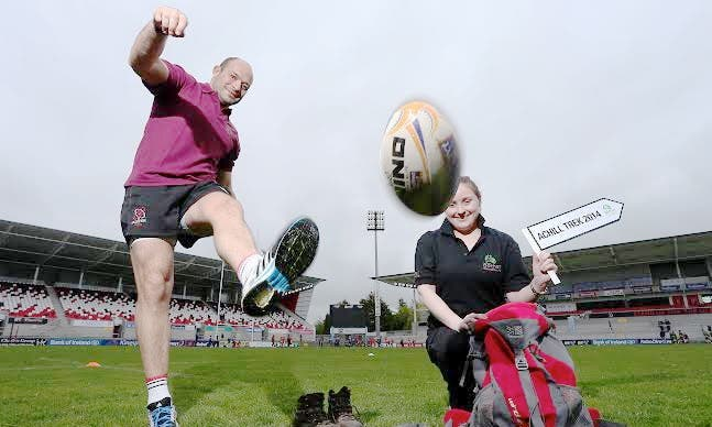 Irish rugby star Rory Best and Bóthar Northern Ireland representative Aoibheann Fearon at today's launch of the charity's Achill Trek appeal. Photo: William Cherry