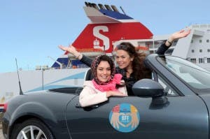 """Models Zara and Gail, aka BFFs Thelma and Louise, are delighted to hear  Stena Line have designated May as """"Best Friends Forever (BFF) Month"""" as one of them will get to travel for free."""