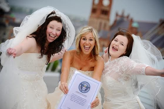 "Denise Devlin, Jill Hughes and Alana Irvine at the launch of this year's ""Brides Across the Bridge."" Photo: Stephen Latimer"