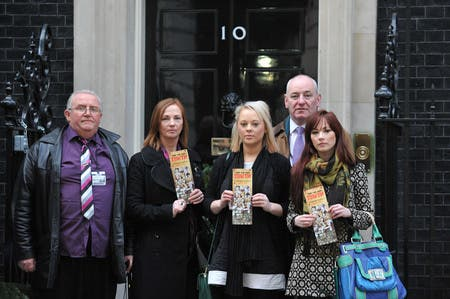 Foyle MP Mark Durkan joining relatives of those killed in the Ballymurphy massacre handing in a petition to 10 Downing Street.