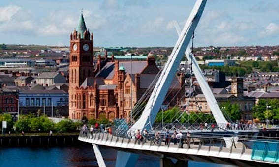 Derry peace Bridge and Guild Hall, Derry, Northern Ireland