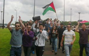 Local Palestinians taking part in today's protest.