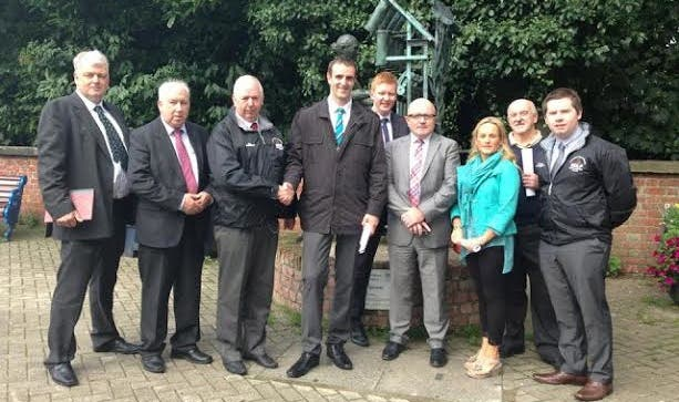 Environment Minister Mark H Durkan, Joe Byrne MLA and Sion Mills Residents at Sion Mills Mill Lane.