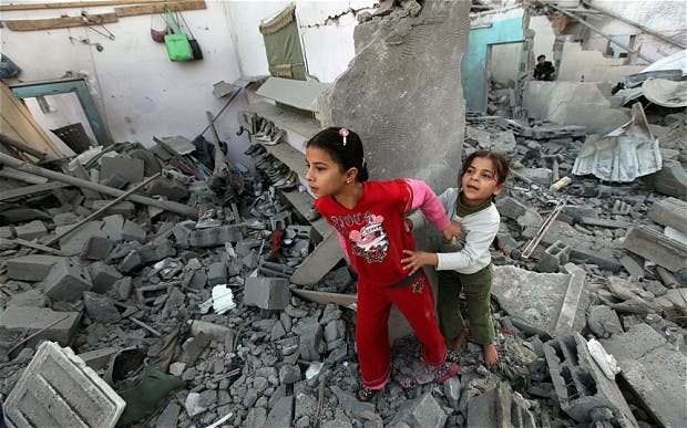 Children emerged from the rumble in Gaza.