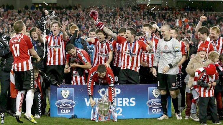 Derry City celebrate winning the FAI Cup in 012.