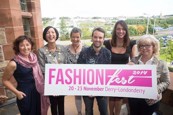 Mayor of Derry, Brenda Stevenson at the launch of Fashion Fest with Deirdre Wilde, Jacqui O'Hara, Christopher Reid, Tara Nicholas, Derry City Council and Helen Quigley, Inner City Trust.