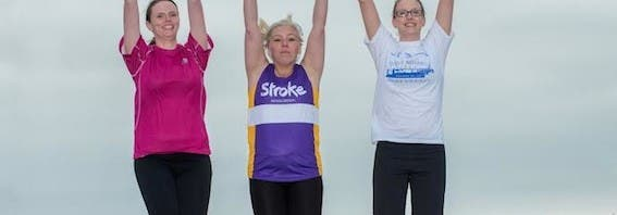 Julie McGinley, Christine Duffy and Catherine Quigley who are taking part in the Waterside Half Marathon in aid of the Stroke Association. Photo: Martin McKeown. Inpresspics.com.