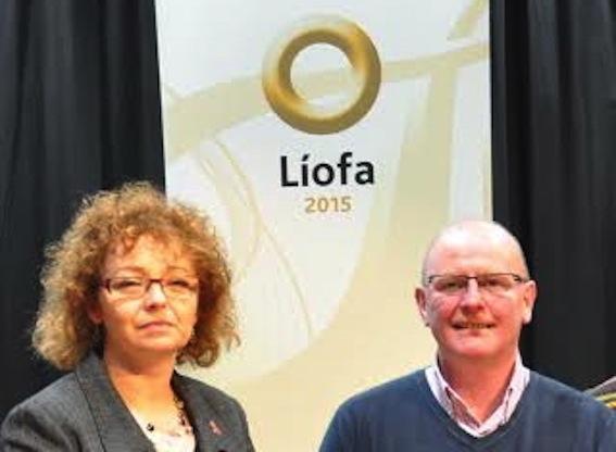 Sinn Féin Councillor and spokesperson on the Irish Language, Kevin Campbell with Culture Minister, Carál Ní Chuilín