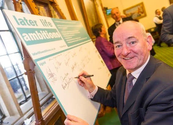 Foyle MP Mark Durkan pledging his support to the Later Life Ambitions campaign.