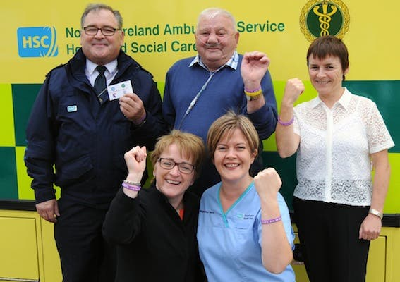 Pictured at the launch of the oyxgen alert medical bracelets were, back (from left), Seamus McAllister, Divisional Training Officer (West), Northern Ireland Ambulance Service, Patient Kevin McKay, Dr Rose Sharkey, Respiratory Consultant, Western Trust; ront, from left, Mary McMenamin (left), Respiratory Co-ordinator, Western Trust and Paula Devine, Respiratory Nurse Case Manager, Western Trust.