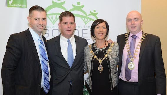 Mayor of Derry, Cllr Brenda Stevenson, with (from left) Brendan Greally, Masschusetts Technology Collaborative, Mayor of Boston, Marty Walsh, and Mayor of Donegal, Cllr John Campbell.