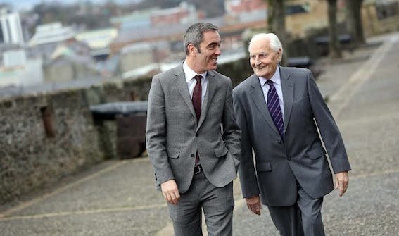 James Nesbitt and his father, James, take a stroll on Derry's historic Walls he and the walls  were named as Northern Ireland's National Treasures. following an online poll to celebrate 20 years of the National Lottery. Photo: Lorcan Doherty Photography