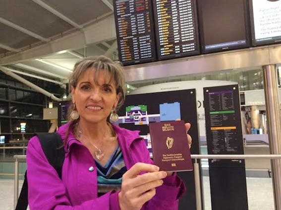 Sinn Féin MEP Martina Anderson with her Irish diplomatic passport