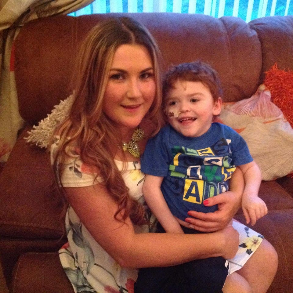 Mummy's Boy... Emma Magee and her battling son Callum Logue who lost his brave fight for life on New Year's Eve