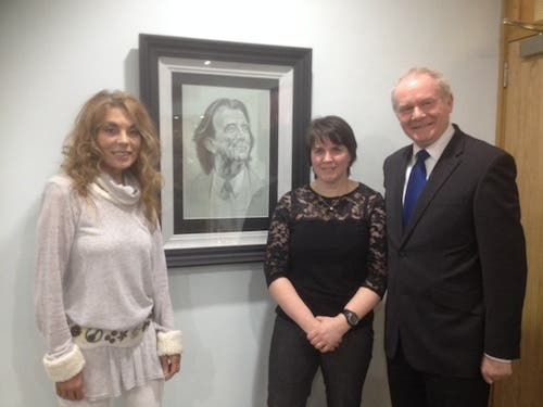 The late Gerry Anderson's wife Christine, artist Marina Hamilton and Martin McGuinness at the BBC studios last night.