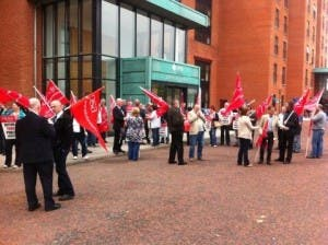 NIPSA protest Lighthouse building