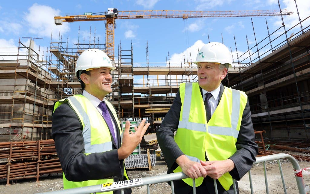 - Health Minister Jim Wells, along with the Irish Health Minister, Leo Varadkar, viewing the progress with the new cardiology service and then visited the site of the hospital's new Radiotherapy Unit. ©/Lorcan Doherty Photography - April 15th 2015.
