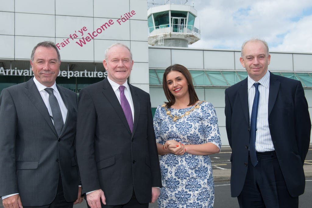 Northern Ireland Deputy First Minister Martin McGuinness pictured with City of Derry Airport Operations Ltd Chairman Roy Devine, left, Derry City and Strabane District Council Mayor, Councillor Elisha McCallion and Clive Coleman, Contracts Director, Regional and City Airports. Picture Martin McKeown. Inpresspics.com. 03.06.15
