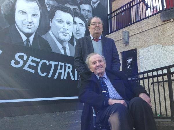 John Hume and Ivan Cooper at yesterday's unveiling of the new Bogside mural
