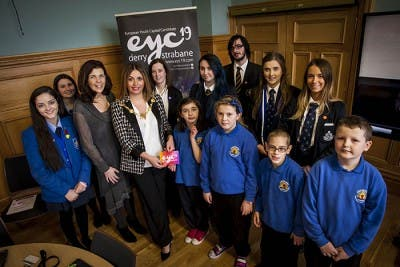 Mayor of Derry City and Strabane District Council pictured at European Youth Capital 19 event in the Guildhall with representatives from various primary and secondary schools throughout the north west. Included are Oonagh McGillion, Director of Legacy and Emma McLaughlin, EYC Officer, Derry City and Strabane District Council.