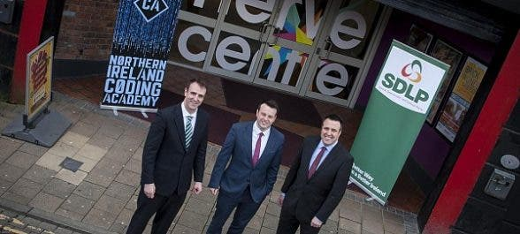 SDLP leader Colum Eastwood pictured with Mark H. Durkan and Gerard Diver at the Nerve Centre, Derry