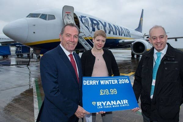 Ryanair have launched their Derry Winter 2016 Schedule. Pictured at the launch are Roy Devine, Chairman of City of Derry Airport Board, Kate Sherry, Director of Route Development, Ryanair and Clive Coleman, Contracts Director, Regional and City Airports. Picture Martin McKeown. Inpresspics.com. 12.04.16