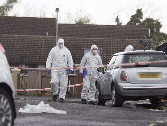 PSNI forensic officers examine the scene of the fatal stabbing in Derry where Gerard Quinn lost his life last Saturday night. (North West Newspix)