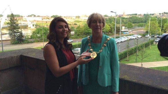 New Mayor of Derry and Strabane council Hilary McClintock receives her chain of office
