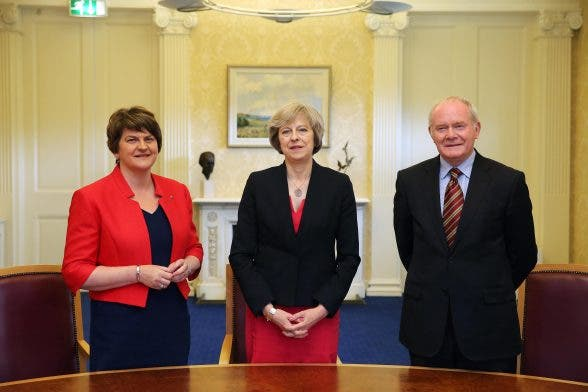 Prime Minister Theresa May is pictured with First Minister Arlene Foster, deputy First Minister Martin McGuinness at Stormont Castle, Belfast. Photo by Kelvin Boyes / Press Eye