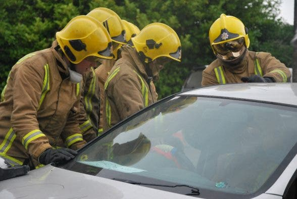 Fire service cut roof off car