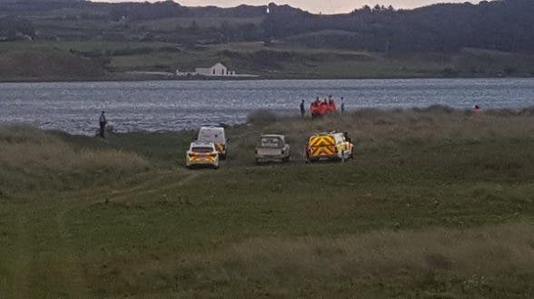 Rescuers searching last night for the missing Derry man as dusk started to fall on the Isle of Doagh, Donegal