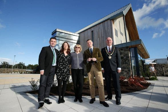 Press Eye - Belfast - Northern Ireland - 29th September 2016 - Official opening of Seamus Heaney HomePlace Centre in Bellaghy. Marie Heaney, Catherine Heaney, Christopher Heaney and Michael Heaney with Councillor Trevor Wilson, Chair of Mid Ulster District Council pictured at the opening of Seamus Heaney HomePlace Centre in Bellaghy. Photo by Kelvin Boyes / Press Eye.