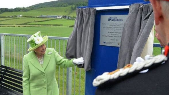 The Queen unveiling the plaque at Bellarena platform in Co Derry