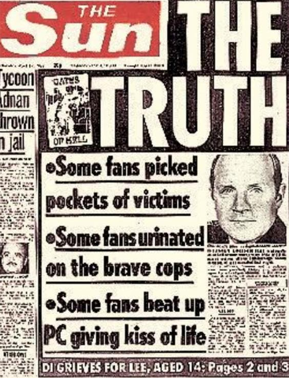 The Sun's front page published after the Hillsborough disaster which sullied the names of 96 dead Liverpool fans