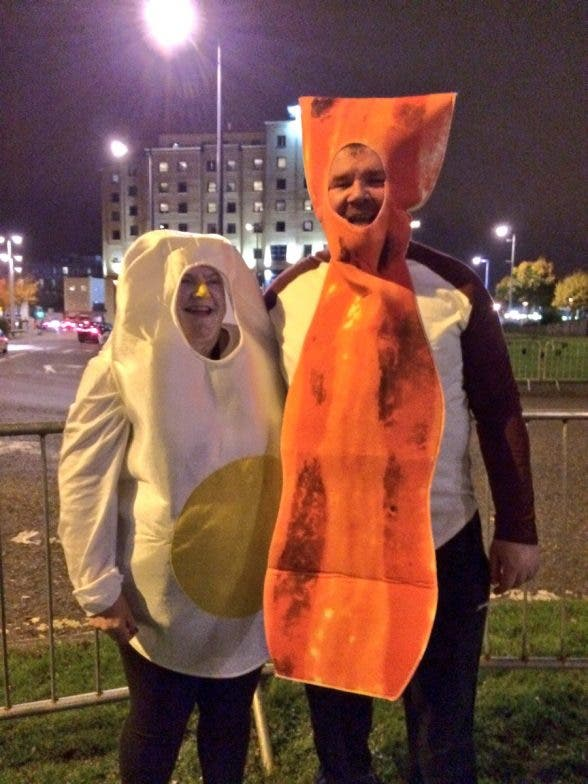 EGG-CELLENT....This couple got into the fancy dress mood dressed as bacon and egg!