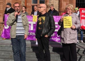 Liam Wray (left) with Eamonn McCann at a Bloody Sunday march