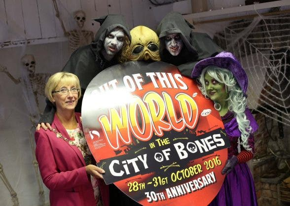 OUT OF THIS WORLD....Mayor Hilary McClintock promoting this Hallowe'en's celebrations in Derry and Strabane
