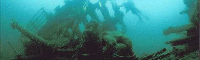 Part of the SS Laurentic lying at the bottom of the sea.