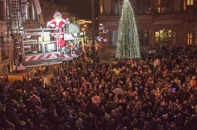 christmas will officially begin in derry when the festive lights are switched on by a very special guest in guildhall square on next thursday